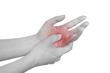 Acute pain in a woman hand