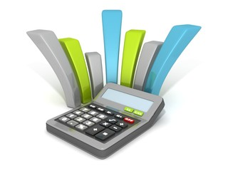office calculator with curved financial bar chart