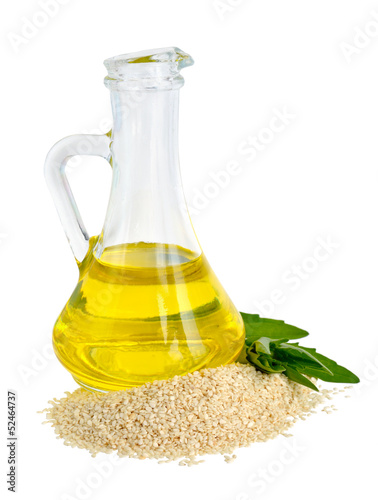 Sesame oil in a glass jug.