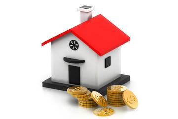 money box house with dollar coins.