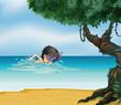 A boy swimming near an old tree