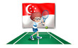 The flag of Singapore at the back of the tennis player