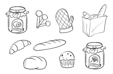 Doodle design of bread and jam