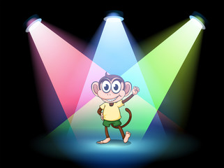 A stage with a male monkey at the center