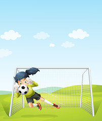 A girl catching the soccer ball under the net
