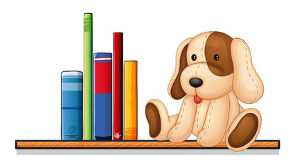 A shelf with books and a toy