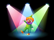 A clown under the spotlights