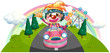 A happy female clown riding on a pink car
