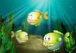 Three piranhas under the sea with seaweeds
