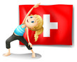 A girl having her exercise in front of the Switzerland flag