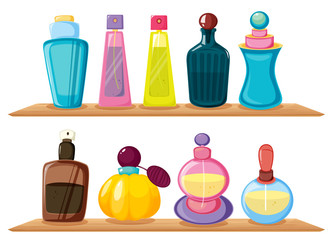 Wooden shelves with different perfumes