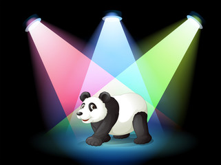 A stage with a giant panda