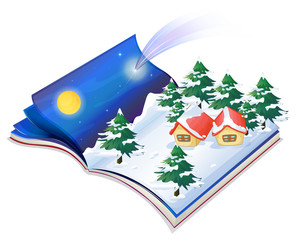 A book with a drawing of a snowy night