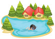 A boy swimming in the pool surrounded with pine trees