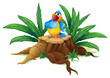 A colorful parrot standing on a stump with leaves