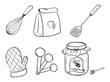 A doodle set of kitchen utensils, baking powder and honey jam