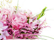 Fragment of colorful bouquet isolated on white background.