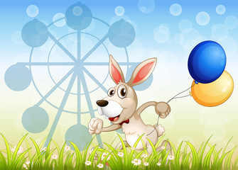A bunny running in the garden with balloons