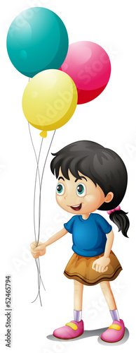 A cute litte girl holding balloons