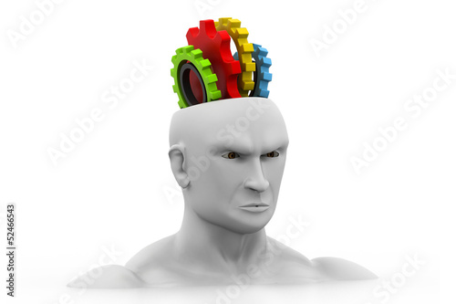 human head with gears.