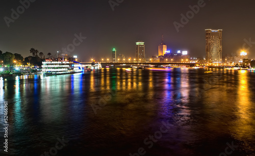 Nile bridge at night