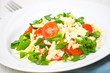 Fresh vegetable salad with cherry tomatoes, green onions, cheese