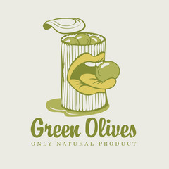 bank with green olives and mouth