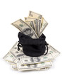 hundred-dollar bills in a bag