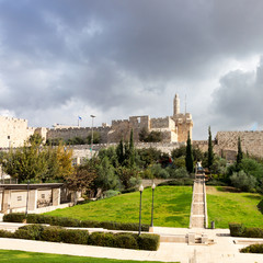 Park and Tower of David in old city Jerusalem