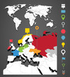 World map infographic template with icons set
