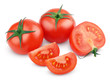 Sliced red tomato vegetables on white with clipping path