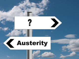 Austerity, prosperity global economy metaphor signpost