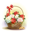 Wedding card.    Rings and  wicker basket  with roses.
