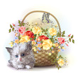 Illustration of  the fluffy kitten and  basket with roses
