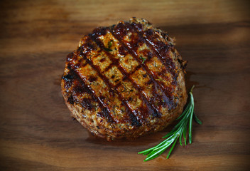 Hamburger, grilled ground beef meat patty, with grill marks