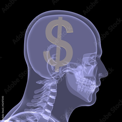 Gold dollar in head