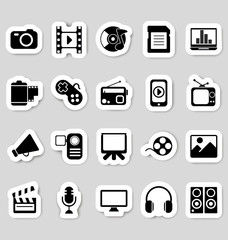 Media icons stickers