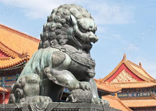Aluminium Beijing Bronze lion statue in Forbidden City, Beijing, China
