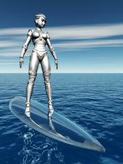 Female Robot with Surfboard