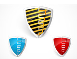 Warning shield merge with yellow stripes poster