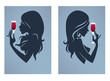 drink with me again, vector girl silhouettes