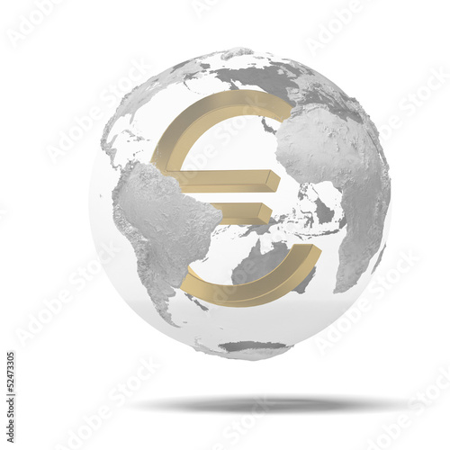 Abstract globe with euro symbol inside.