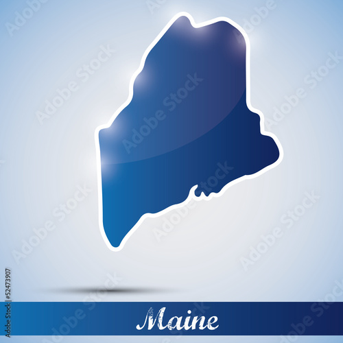 shiny icon in form of Maine state, USA
