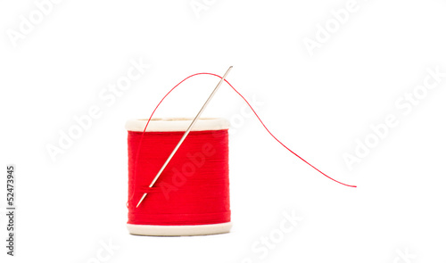 Needle and thread in red