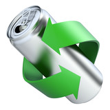 Recycling concept with drink can