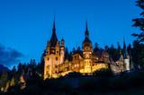 Night view of Peles castle - Romania landmark poster