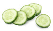 Slice of green cucumber vegetable on white with clipping path
