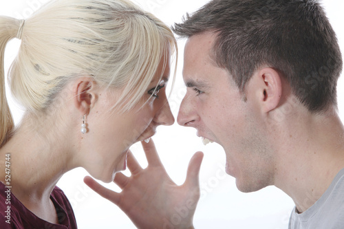 Model Released. Young Couple Shouting