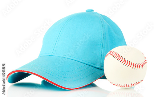 Blue peaked cap isolated on white