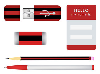 name tag. pen. pencil. USB Flash Drive Icon. vectors isolated
